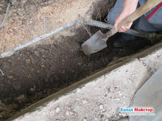 Сваляне на нивото в изкопа