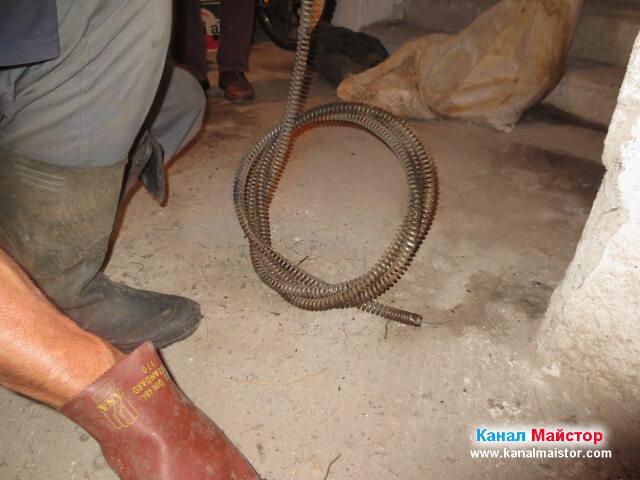 Размотаване на навитата канализационна спирала
