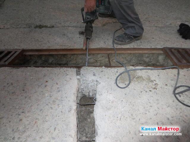 Дооформяне на дупката откъм решетката за дъждовна вода