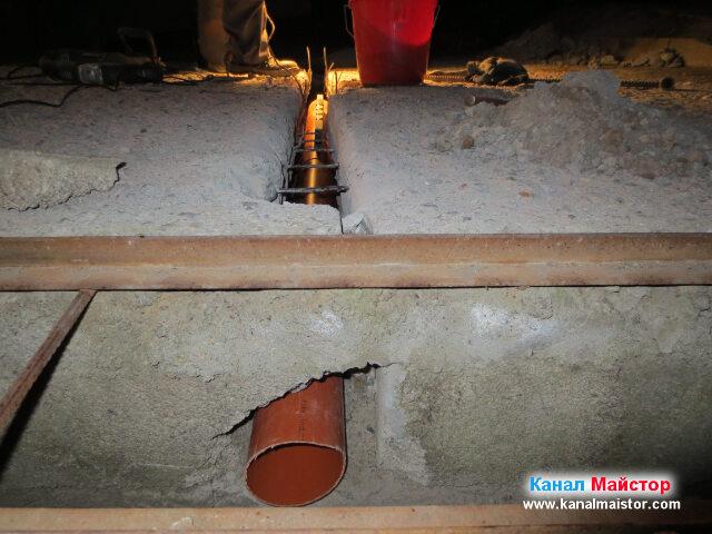 Остава да се положи още една тръба, която да стигне до шахтата за отпадна вода