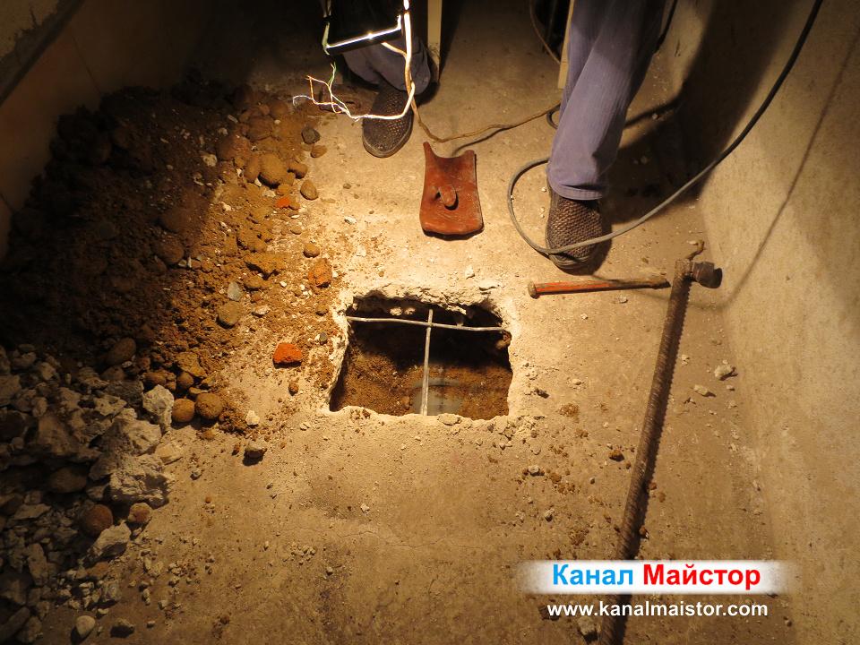 Далечен план на намерената канализационна тръба