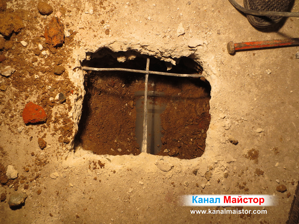 Близък план на намерената канализационна тръба