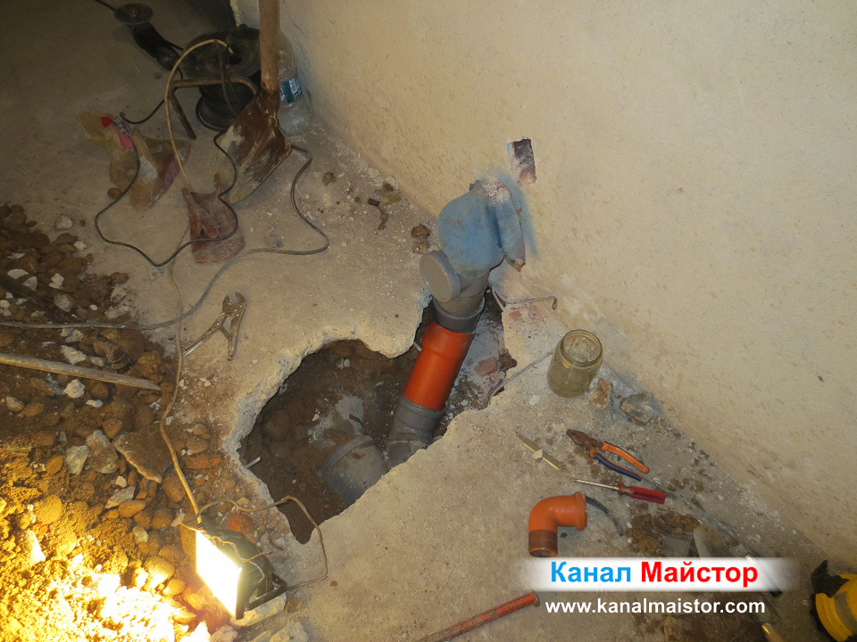 Снимка на ремонтираната канализационна тръба